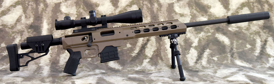 Picture of a Modular Driven Technologies TAC21 20 inch Suppressed Modular Rifle based on a Remington 700 barreled action and the MDT TAC21 Chassis System