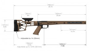 Modular Rifle Chassis System MDT HS3 Dimensions