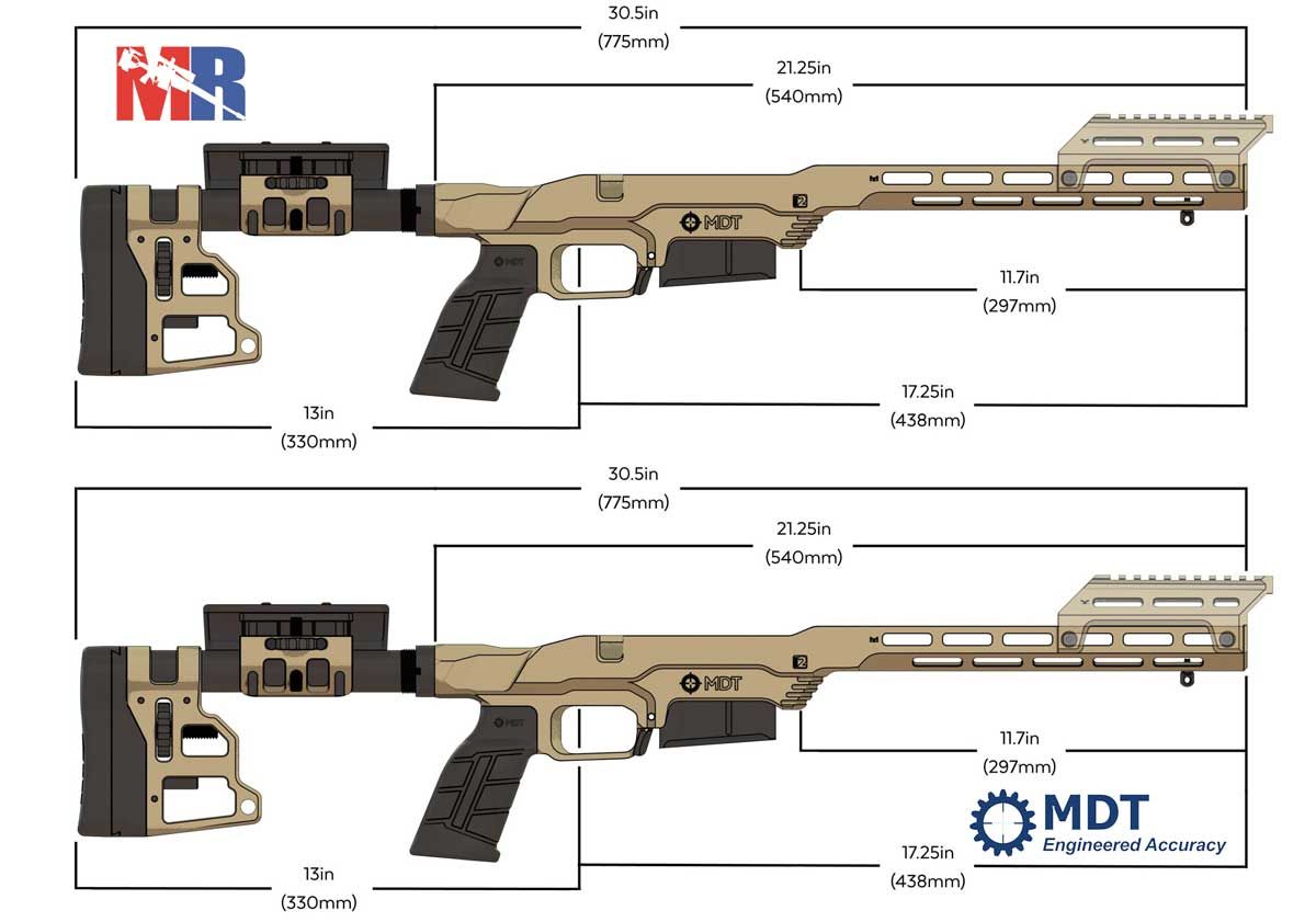 MDT LSS XL Gen2 Rifle Chassis Dimensions