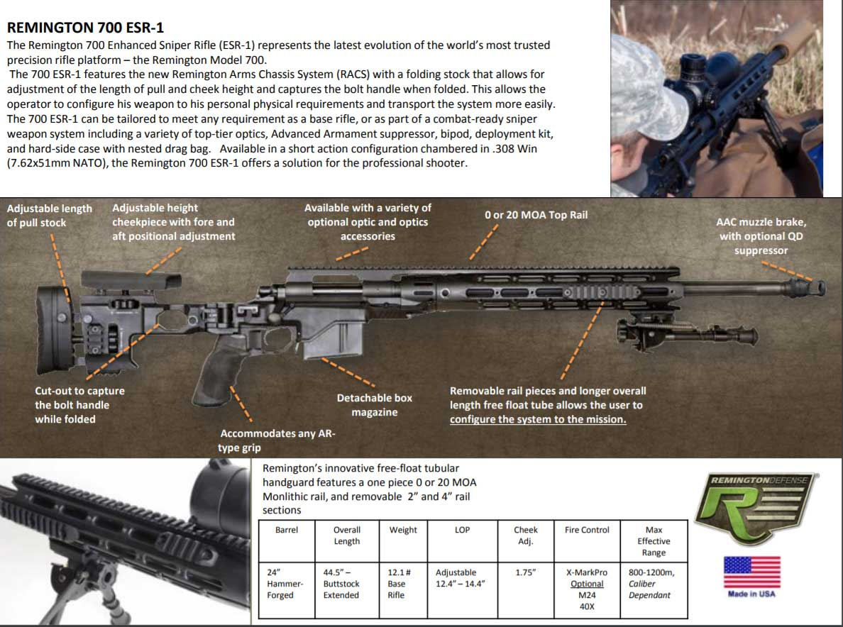 Picture of a Remington 700 Enhanced Sniper Rifle ESR-1 86679